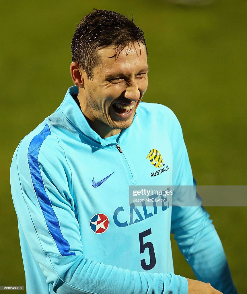 <a gi-track='captionPersonalityLinkClicked' href=/galleries/search?phrase=Mark+Milligan&family=editorial&specificpeople=557185 ng-click='$event.stopPropagation()'>Mark Milligan</a> of the Socceroos during an Australian Socceroos training session at Leichhardt Oval on June 1, 2016 in Sydney, Australia.