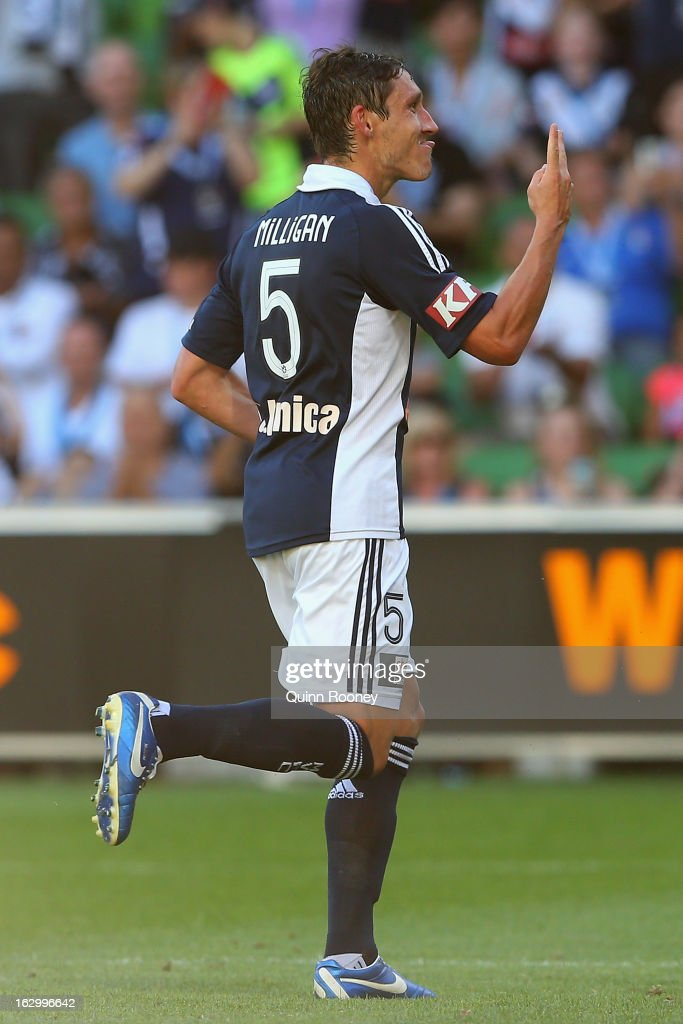 Mark Milligan of the Victory celebrates scoring a goal during the round 23 A-League match between the Melbourne Victory and the Newcastle Jets at AAMI Park on March 3, 2013 in Melbourne, Australia.