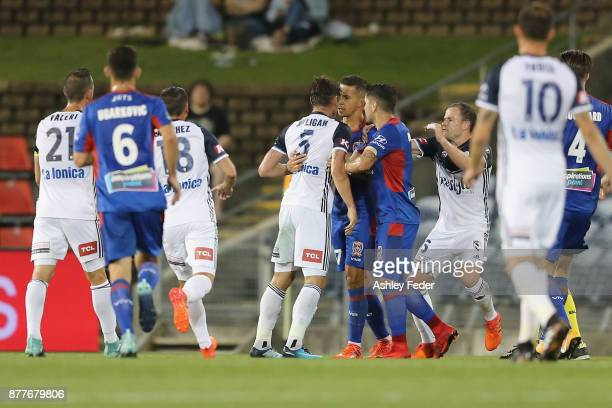 Mark Milligan of the Victory headbutts Daniel Georgievski of the Jets resulting in a red card during the round eight ALeague match between the...