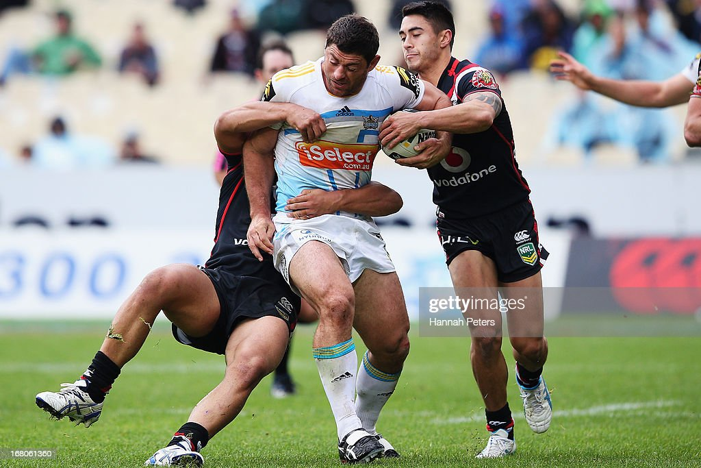 Mark Minichiello of the Titans charges forward during the round eight NRL match between the New Zealand Warriors and the Gold Coast Titans at Mt Smart Stadium on May 5, 2013 in Auckland, New Zealand.