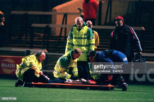 Mark Molloy Scotland is stretchered off the field after breaking his leg