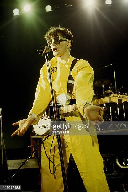 Mark Mothersbaugh performs with 'Devo' at the Community Center in Berkeley California on December 28 1979