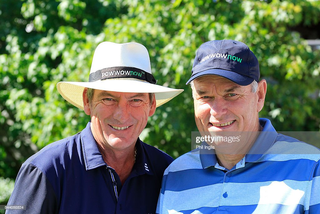 Mark Mouland of Wales and his playing partner <a gi-track='captionPersonalityLinkClicked' href=/galleries/search?phrase=David+J+Russell&family=editorial&specificpeople=233663 ng-click='$event.stopPropagation()'>David J Russell</a> of England in action during the the first round of the Swiss Seniors Open played at Golf Club Bad Ragaz on July 1, 2016 in Bad Ragaz, Switzerland.
