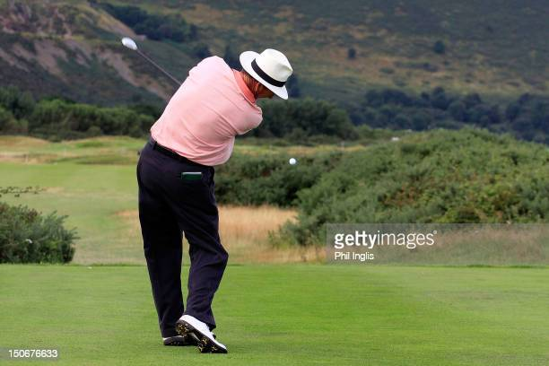 Mark Mouland of Wales in action during the first round of the Speedy Services Wales Senior Open played at Conwy Golf Club on August 24 2012 in Conwy...
