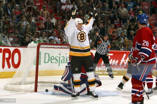 Mark Mowers of the Boston Bruins celebrates his team's fourth goal in secondperiod action at the Bell Centre September 19 2006 in Montreal Canada