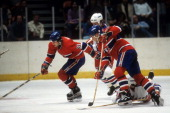 Mark Napier of the Montreal Canadiens skates on the ice during an NHL game against the New York Rangers circa 1982 at the Madison Square Garden in...