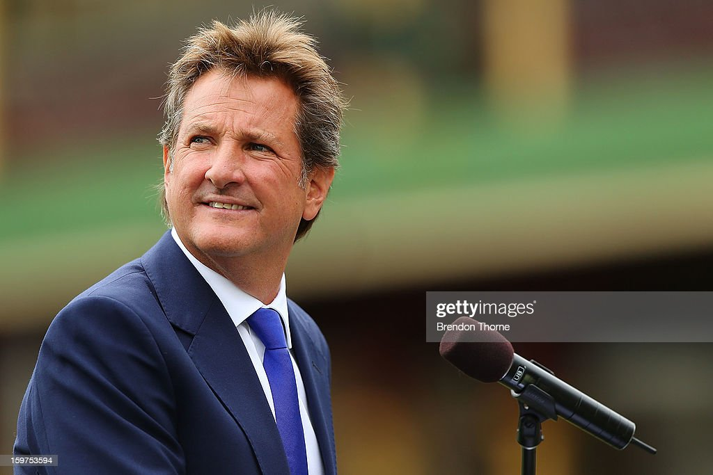 Mark Nicholas speaks on stage during the Tony Greig memorial service at Sydney Cricket Ground on January 20, 2013 in Sydney, Australia.