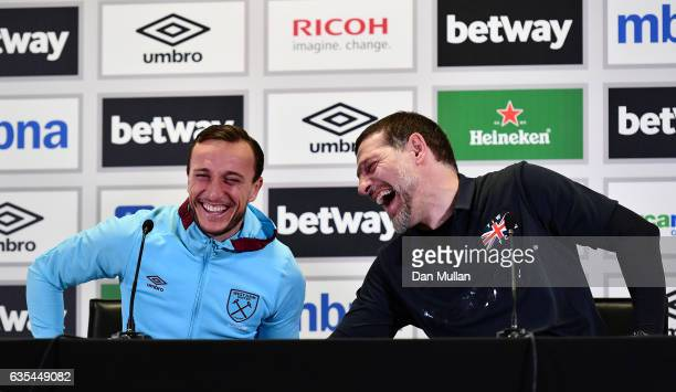 Mark Noble and Slaven Bilic Manager of West Ham United host a press conference for children during a West Ham United family fun day at London Stadium...