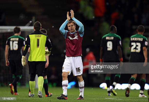 Mark Noble of West Ham celebrates after the npower Championship match between West Ham United and Nottingham Forest at Boleyn Ground on January 21...