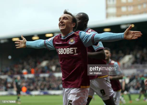 Mark Noble of West Ham celebrates scoring a penalty during the npower Championship match between West Ham United and Nottingham Forest at Boleyn...