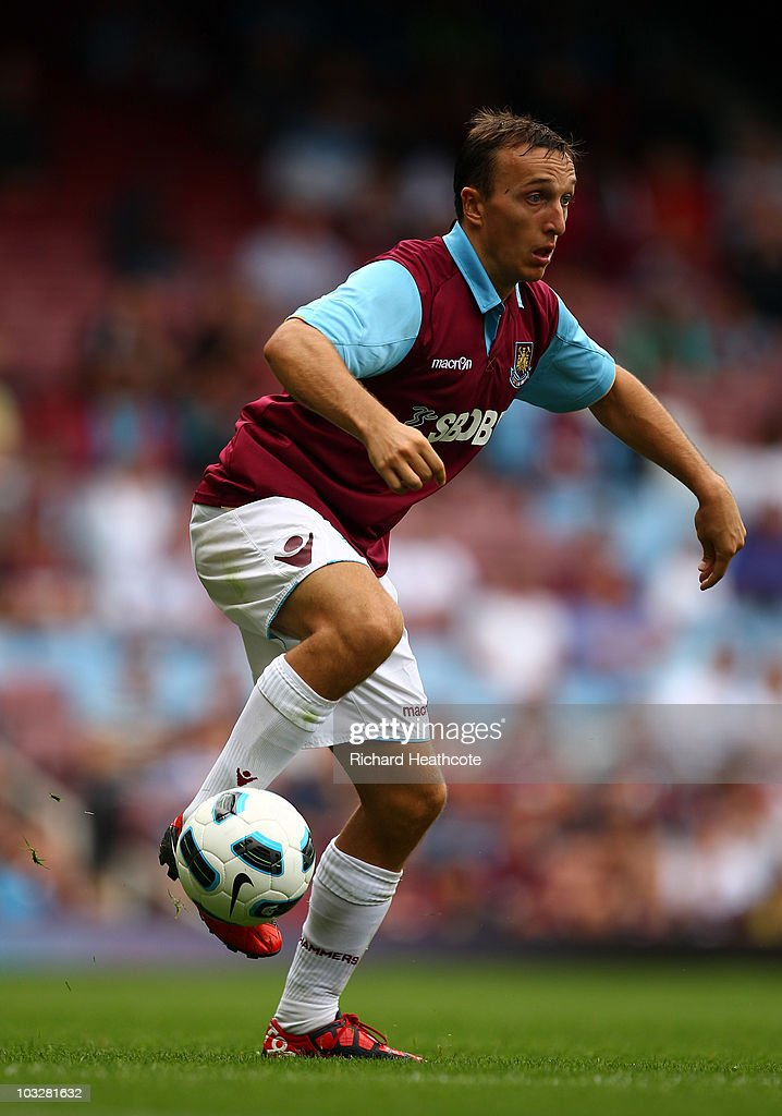 Mark Noble of West Ham in action during the pre-season friendly match between West Ham United and Deportivo La Coruna at Upton Park on August 7, 2010 in London, England.