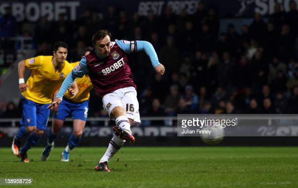 Mark Noble of West Ham scores a penalty during the npower Championship match between West Ham United and Southampton at Boleyn Ground on February 14...