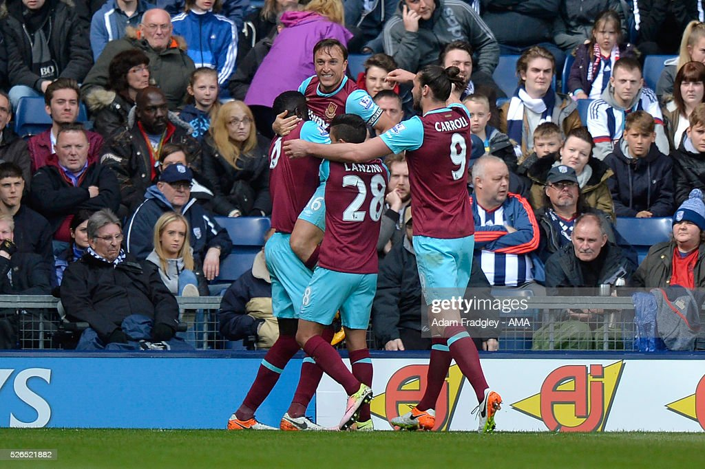 Mark Noble of West Ham United celebrates scoring a goal to make the score 0-2 during the Barclays Premier League match between West Bromwich Albion and West Ham United at The Hawthorns on April 30, 2016 in West Bromwich, United Kingdom.
