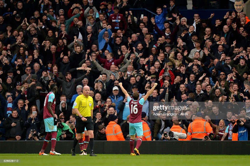 Mark Noble of West Ham United celebrates scoring a goal to make the score 0-3 during the Barclays Premier League match between West Bromwich Albion and West Ham United at The Hawthorns on April 30, 2016 in West Bromwich, United Kingdom.