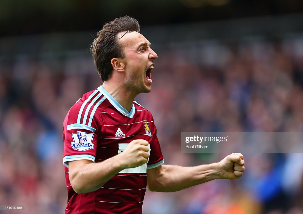 <a gi-track='captionPersonalityLinkClicked' href=/galleries/search?phrase=Mark+Noble&family=editorial&specificpeople=844055 ng-click='$event.stopPropagation()'>Mark Noble</a> of West Ham United celebrates scoring his team's first goal from the penalty spot during the Barclays Premier League match between West Ham United and Burnley at the Boleyn Ground on May 2, 2015 in London, England.