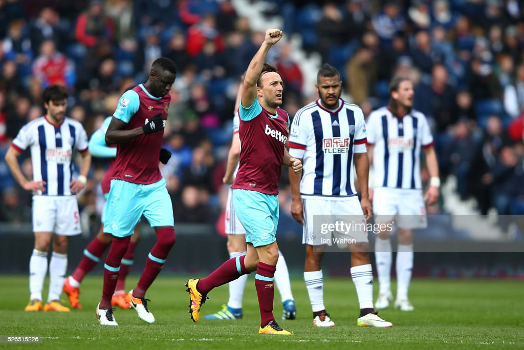 Mark Noble of West Ham United celebrates scoring his team's second goal during the Barclays Premier League match between West Bromwich Albion and West Ham United at The Hawthorns on April 30, 2016 in West Bromwich, England.