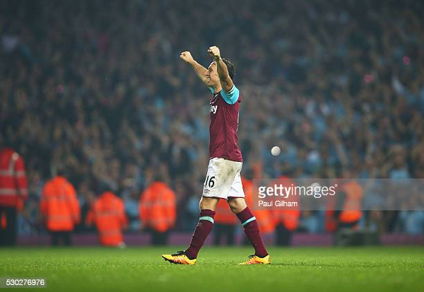 Mark Noble of West Ham United celebrates victory after the Barclays Premier League match between West Ham United and Manchester United at the Boleyn...
