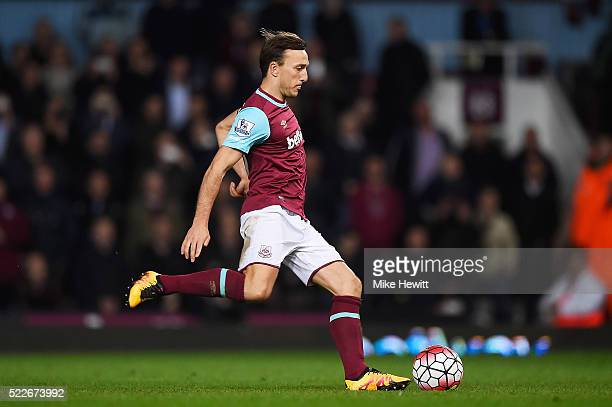 Mark Noble of West Ham United scores his second penalty during the Barclays Premier League match between West Ham United and Watford at the Boleyn...