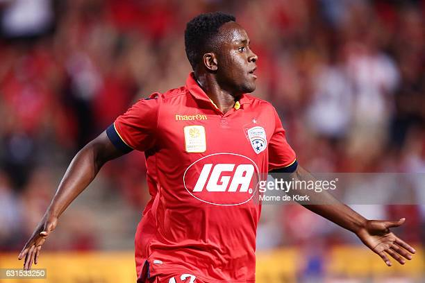 Mark Ochieng of Adelaide United celebrates after scoring a goal during the round 15 ALeague match between Adelaide United and Melbourne City FC at...