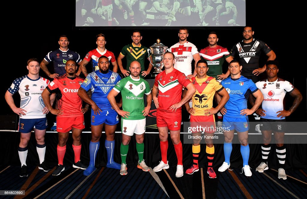 Mark Offerdahl of USA, Danny Brough of Scotland, Sika Manu of Tonga, Theo Fages of France, Frank Pritchard of Samoa, Liam Finn of Ireland, Cameron Smith of Australia, Craig Kopczak of Wales, Sean O'Loughlin of England, David Mead of Papua New Guinea, Robbie Farah of Lebanon, Mark Minichiello of Italy, Adam Blair of New Zealand and Kevin Naiqama of Fiji pose for a photo during a Rugby League World Cup media opportunity at Sofitel Brisbane on October 22, 2017 in Brisbane, Australia.