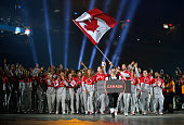 Mark Oldershaw carries the flag for Canada during the Opening Ceremony for the Toronto 2015 Pan Am Games at Rogers Centre on July 10 2015 in Toronto...