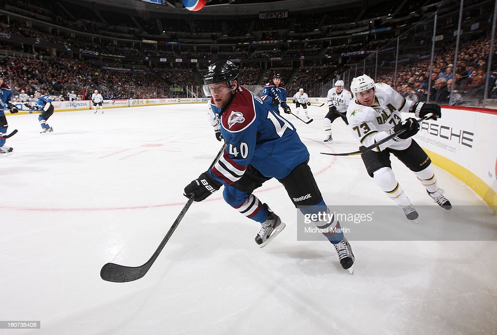 Mark Olver #40 of the Colorado Avalanche skates against <a gi-track='captionPersonalityLinkClicked' href=/galleries/search?phrase=Michael+Ryder&family=editorial&specificpeople=208983 ng-click='$event.stopPropagation()'>Michael Ryder</a> #73 of the Dallas Stars at the Pepsi Center on February 4, 2013 in Denver, Colorado.