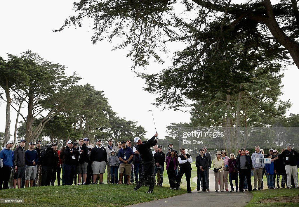 Mark O'Meara hits out of the rough on the sixth hole during the Final Round of the Charles Schwab Cup Championship at TPC Harding Park on November 3, 2013 in San Francisco, California.