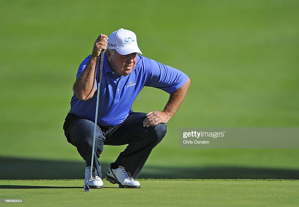 <a gi-track='captionPersonalityLinkClicked' href=/galleries/search?phrase=Mark+O%27Meara&family=editorial&specificpeople=202245 ng-click='$event.stopPropagation()'>Mark O'Meara</a> lines up a putt on the 15th green during the second round of the Charles Schwab Cup Championship at TPC Harding Park on November 1, 2013 in San Francisco, California.