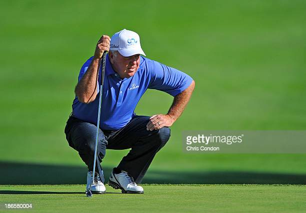 Mark O'Meara lines up a putt on the 15th green during the second round of the Charles Schwab Cup Championship at TPC Harding Park on November 1 2013...