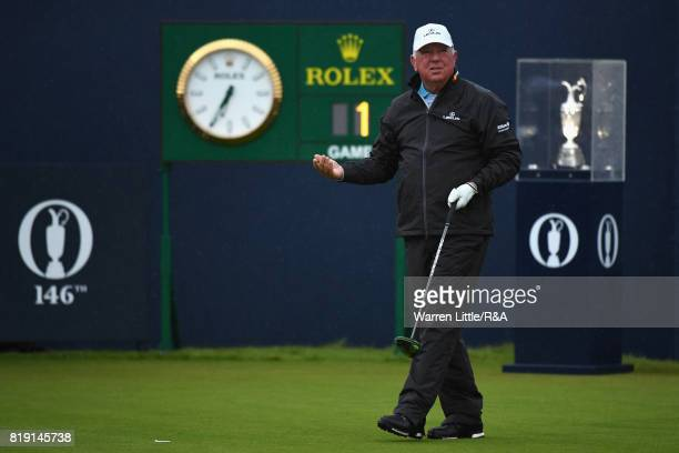 Mark O'Meara of the United States arrives on the 1st tee during the first round of the 146th Open Championship at Royal Birkdale on July 20 2017 in...