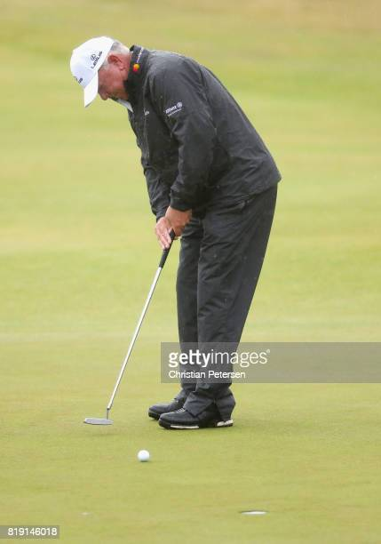 Mark O'Meara of the United States hits a putt on the 1st green during the first round of the 146th Open Championship at Royal Birkdale on July 20...