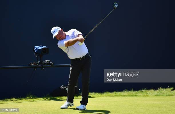Mark O'Meara of the United States hits a tee shot during a practice round prior to the 146th Open Championship at Royal Birkdale on July 17 2017 in...