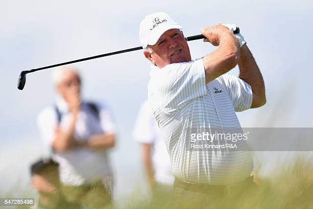 Mark O'Meara of the United States hits a tee shot on the third hole during the first round on day one of the 145th Open Championship at Royal Troon...