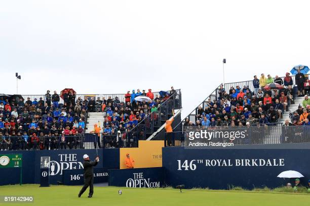 Mark O'Meara of the United States hits the opening shot of the Championship on the 1st tee during the first round of the 146th Open Championship at...