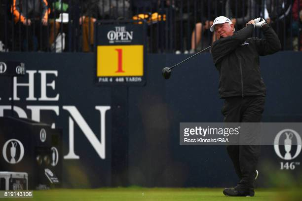Mark O'Meara of the United States hits the opening tee shot on the 1st hole during the first round of the 146th Open Championship at Royal Birkdale...