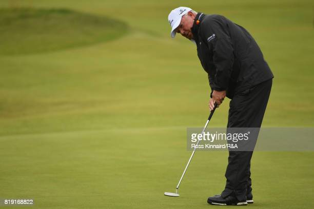 Mark O'Meara of the United States putts on the 3rd green during the first round of the 146th Open Championship at Royal Birkdale on July 20 2017 in...