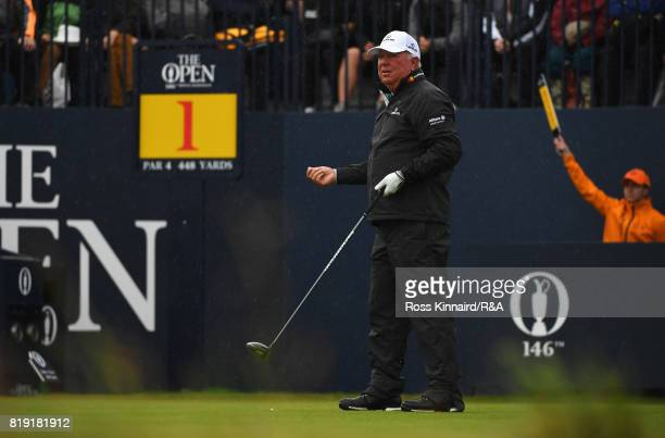 Mark O'Meara of the United States reacts to his opening tee shot on the 1st hole during the first round of the 146th Open Championship at Royal...