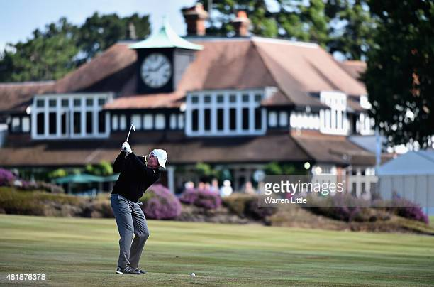 Mark O'Meara of the USA plays into the 18th green during completion of the second round of The Senior Open Championship on the Old Course at...