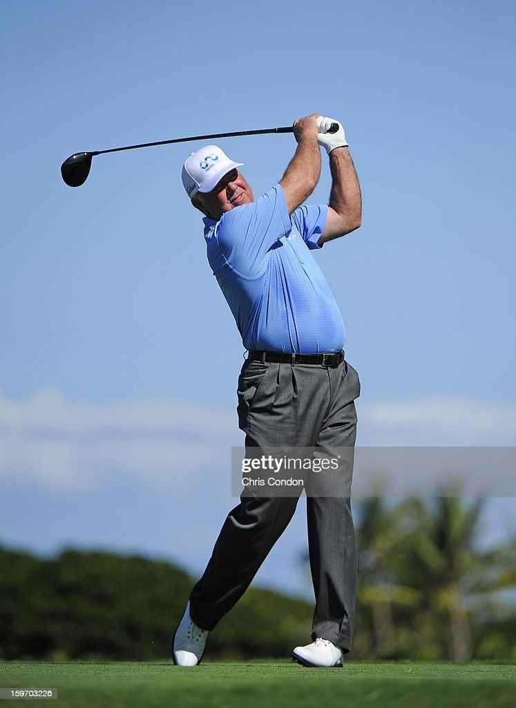 KA'UPULEHU-KONA, HI - JANUARY 18: Mark O'Meara plays from the second tee during the first round of the Mitsubishi Electric Championship at Hualalai Golf Club on January 18, 2013 in Ka'upulehu-Kona, Hawaii.