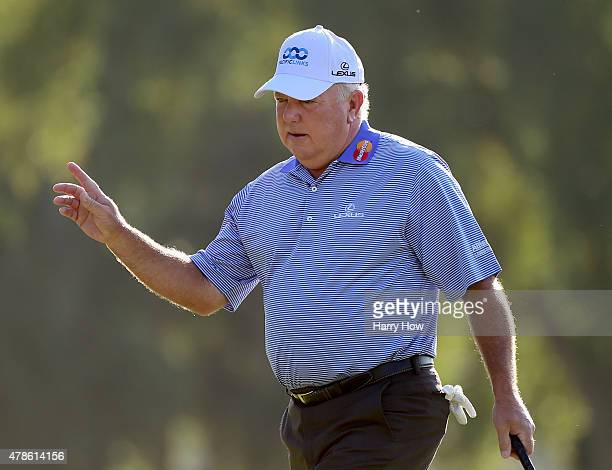Mark O'Meara reacts to his putt on the 10th green during round one of the US Senior Open Championship at the Del Paso Country Club on June 25 2015 in...