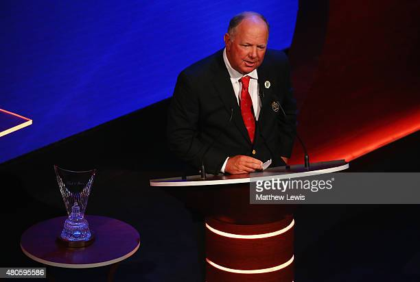 Mark O'Meara speaks on stage as he is inducted into the World Golf Hall of Fame at St Andrews University on July 13 2015 in St Andrews Scotland