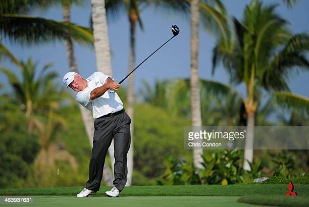 KA'UPULEHUKONA HI JANUARY 19 Mark O'Meara tees off on the 14th hole during the final round of the Mitsubishi Electric Championship at Hualalai Golf...