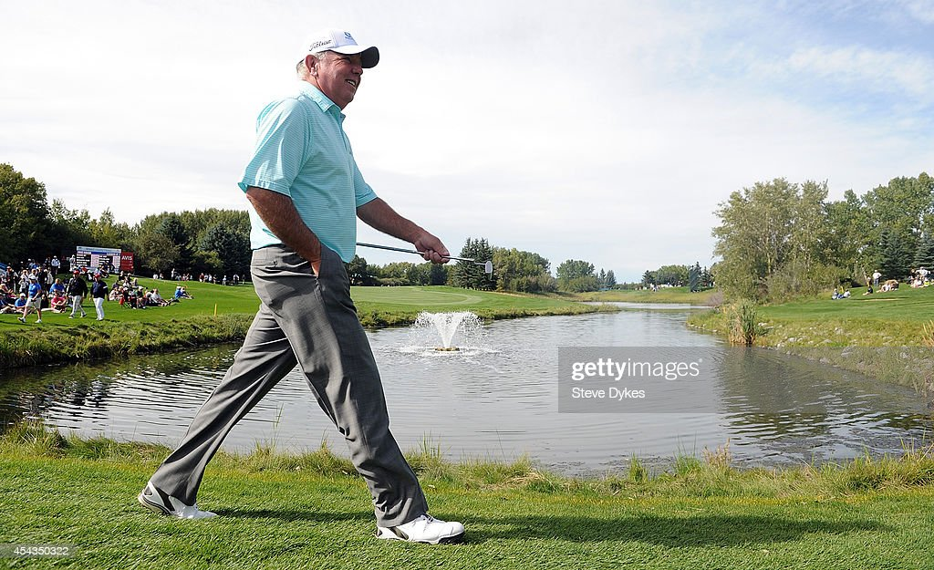 Mark O'Meara walks up to the 18th hole during the first round of the Shaw Charity Classic on August 29, 2014 in Calgary, Canada.