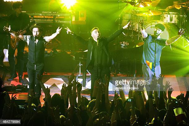 Mark Owen Gary Barlow and Howard Donald of Take That performs at the War Child BRIT Awards show at O2 Shepherd's Bush Empire on February 23 2015 in...