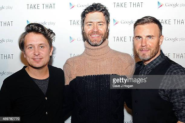 Mark Owen Howard Donald and Gary Barlow of Take That attend an Exclusive Google Play gig to launch Take That's new album 'III' which will be...