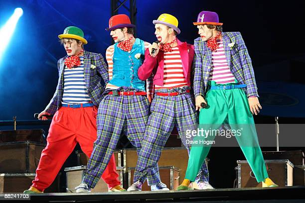 Mark Owen Jason Orange Gary Barlow and Howard Donald of Take That perform onstage during rehearsals for the first night of 'Take That Present at the...
