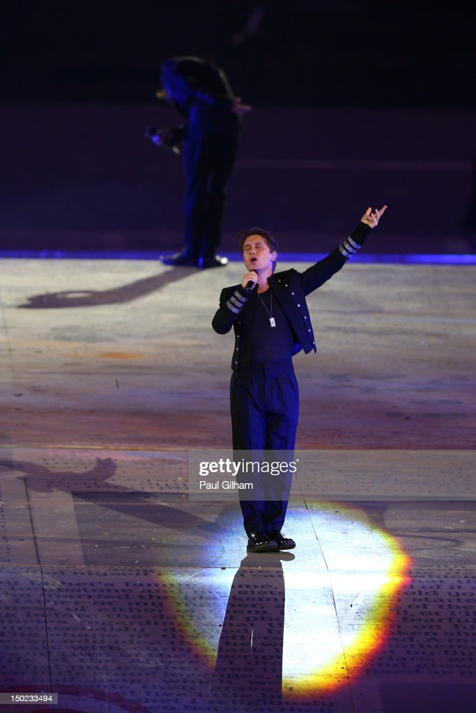 Mark Owen of Take That performs during the Closing Ceremony on Day 16 of the London 2012 Olympic Games at Olympic Stadium on August 12, 2012 in London, England.