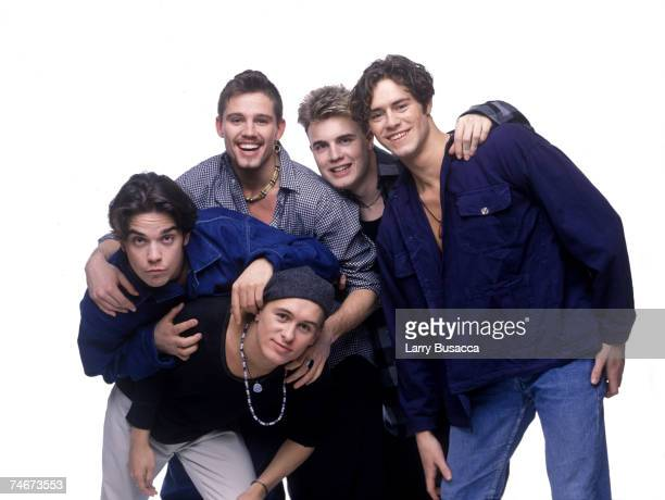 Mark Owen Robbie Williams Jason Orange Gary Barlow and Howard Donald of Take That at the Studio Session in New York City New York