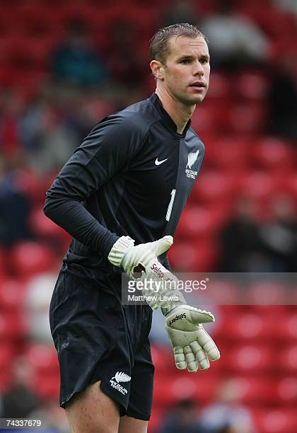 Mark Paston of New Zealand in action during the Nationwide International Friendly match between Wales and New Zealand at Racecourse Ground on May 26...