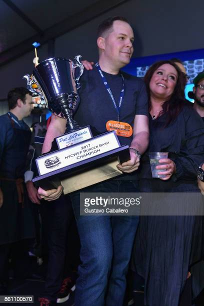 Mark Pastore holds the Judge's Choice trophy at the Food Network Cooking Channel New York City Wine Food Festival Presented By CocaCola Blue Moon...